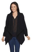 Womens Black Waterfall Drape Wool Coat K9099